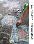 chalk drawing hand outside on... | Shutterstock . vector #233410795