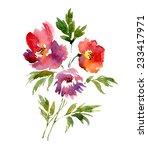 watercolor bouquet of peonies.... | Shutterstock .eps vector #233417971