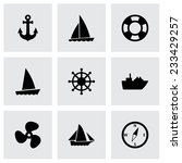 Vector Ship And Boat Icon Set...