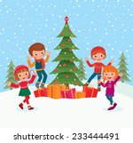 children celebrate christmas... | Shutterstock . vector #233444491