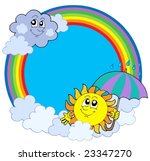 sun and clouds in rainbow... | Shutterstock .eps vector #23347270