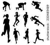 set of running people in... | Shutterstock .eps vector #233485489