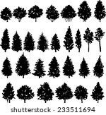 set of trees silhouettes  hand... | Shutterstock .eps vector #233511694