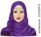 muslim girl dressed in violet...   Shutterstock .eps vector #233528971