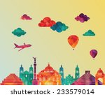 mexico famous landmarks skyline.... | Shutterstock .eps vector #233579014