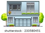 a house with balcony on a white ... | Shutterstock .eps vector #233580451