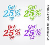 get 25 percent colorful vector... | Shutterstock .eps vector #233594839