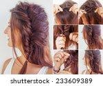 one side fishtail braid... | Shutterstock . vector #233609389