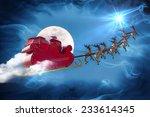 santa claus riding a sleigh led ... | Shutterstock . vector #233614345