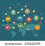 social network flat concept | Shutterstock .eps vector #233663359