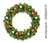detailed christmas wreath | Shutterstock .eps vector #233665471