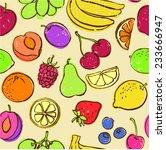 fresh fruit seamless pattern... | Shutterstock .eps vector #233666947