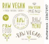 raw vegan badges. vector eps 10 ... | Shutterstock .eps vector #233671957