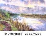 spring  landscape. watercolor... | Shutterstock . vector #233674219