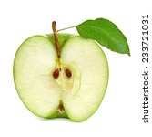 Small photo of Half green apple with leaf on white background including clipping path