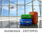 Постер, плакат: Traveler Suitcases in Airport