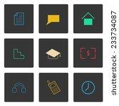 set of simple thin menu icons...