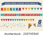 birthday bunting and garlands... | Shutterstock .eps vector #233745565