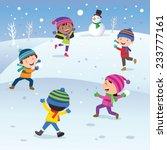 winter fun. children playing... | Shutterstock .eps vector #233777161