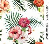 Stock vector hibiscus background watercolor 233786554