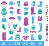 set of vector icons for winter... | Shutterstock .eps vector #233791789