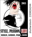vintage poster  girl  fashion.... | Shutterstock .eps vector #233826244