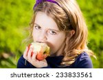 happy kid eating fruits from... | Shutterstock . vector #233833561