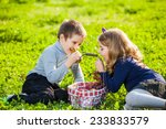 happy kids eating fruits from... | Shutterstock . vector #233833579