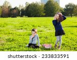 happy kids eating fruits from... | Shutterstock . vector #233833591