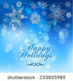 elegant lacy snowflakes on blue ... | Shutterstock .eps vector #233835985