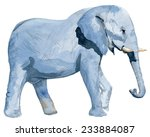Watercolor Blue Elephant. Hand...