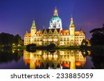 Stock photo new town hall in hanover germany at night 233885059