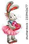 Cute Bunny Rabbit. Watercolor...