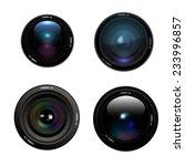 camera lens set on white... | Shutterstock .eps vector #233996857