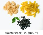 Pasta, parsley and black pepper - stock photo