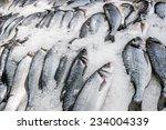 Fresh Fish Carcasses Lie On Ic...