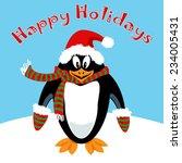 funny penguin cartoon with... | Shutterstock .eps vector #234005431