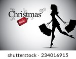 christmas woman shopping bag...