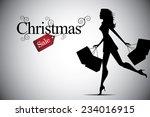 Christmas Woman Shopping Bag...