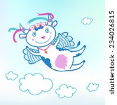 illustration of flying funny... | Shutterstock .eps vector #234026815