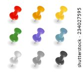 set of push pins in different... | Shutterstock .eps vector #234027595