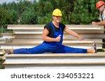 funny fit worker wearing blue... | Shutterstock . vector #234053221