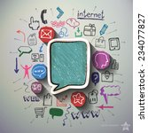 mobile media collage with icons ... | Shutterstock .eps vector #234077827