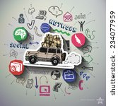 social media collage with icons ... | Shutterstock .eps vector #234077959