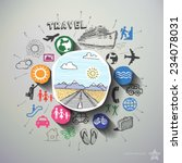 travel collage with icons... | Shutterstock .eps vector #234078031