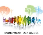 colorful crowd of shopping... | Shutterstock .eps vector #234102811