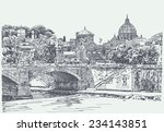 original sketch drawing of rome ... | Shutterstock .eps vector #234143851