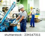 worker with goggles and helmet... | Shutterstock . vector #234167311