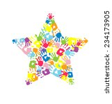 star made of the handprints | Shutterstock .eps vector #234173905