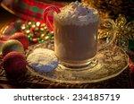 holiday hot chocolate. mug of... | Shutterstock . vector #234185719